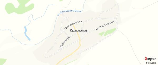 Карта села Краснояры в Алтайском крае с улицами и номерами домов