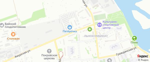 Улица Льнокомбинат на карте Бийска с номерами домов