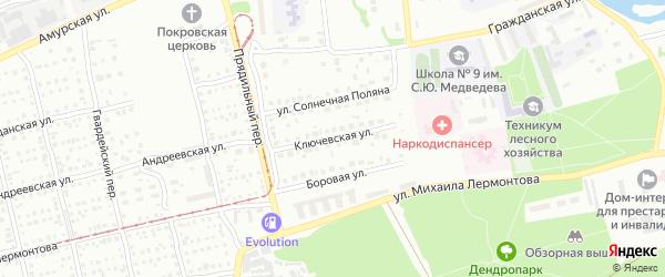 Ключевская улица на карте Бийска с номерами домов