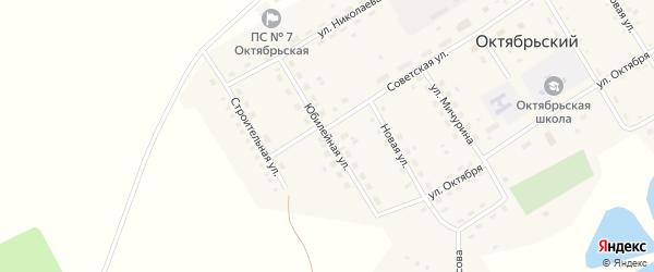 Юбилейная улица на карте Октябрьского поселка с номерами домов