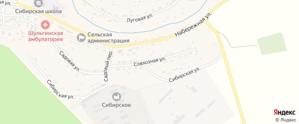 Совхозная улица на карте села Шульгинки с номерами домов