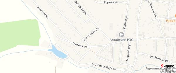 Цветочная улица на карте Алтайского села с номерами домов