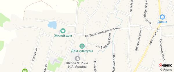 Улица З.Космодемьянской на карте Алтайского села с номерами домов