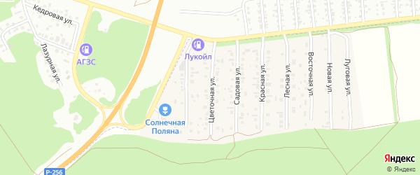 Цветочная улица на карте поселка Семеновода с номерами домов