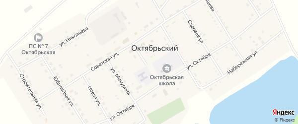 Целинная улица на карте Октябрьского поселка с номерами домов