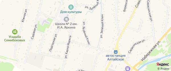 Улица Зеленый Клин на карте Алтайского села с номерами домов