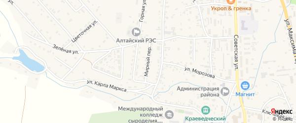 Мирный переулок на карте Алтайского села с номерами домов