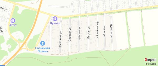 Красная улица на карте поселка Семеновода с номерами домов