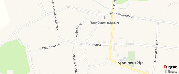 Олимпийский переулок на карте села Красного Яра с номерами домов
