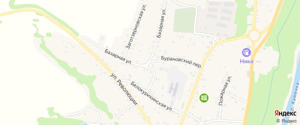 Бурановский переулок на карте Алтайского села с номерами домов