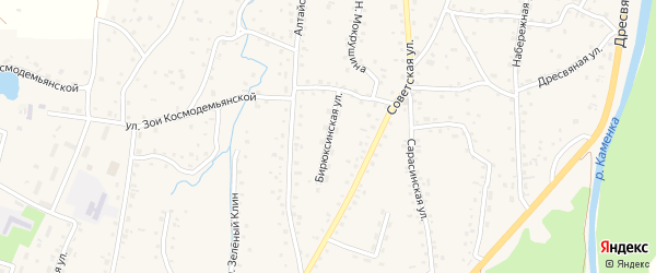 Бирюксинская улица на карте Алтайского села с номерами домов