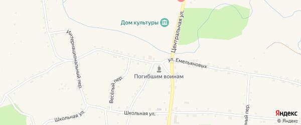 Улица Емельяновых на карте села Красного Яра с номерами домов