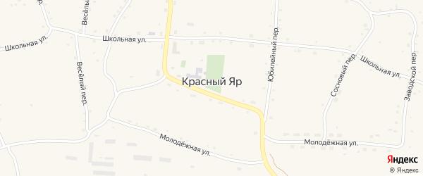 Центральная улица на карте села Красного Яра с номерами домов