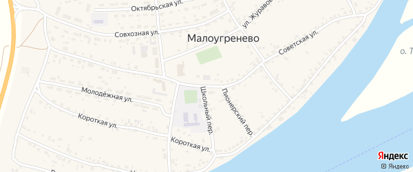 Советская улица на карте села Малоугренево с номерами домов