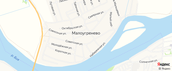 Карта села Малоугренево в Алтайском крае с улицами и номерами домов