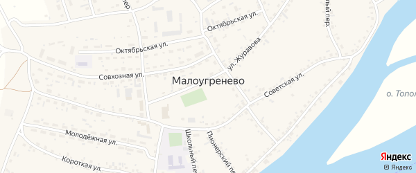 Тополевый переулок на карте села Малоугренево с номерами домов