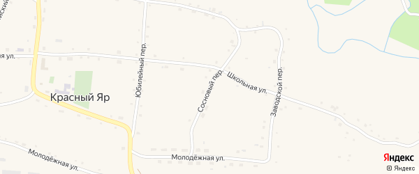 Сосновый переулок на карте села Красного Яра с номерами домов