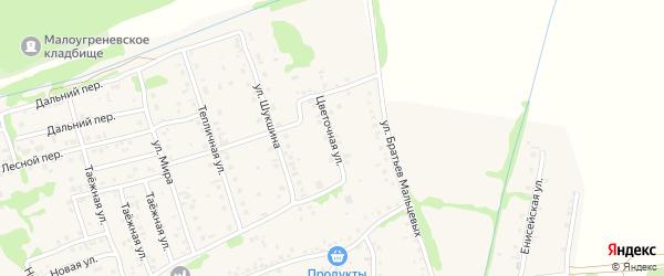 Цветочная улица на карте села Малоугренево с номерами домов