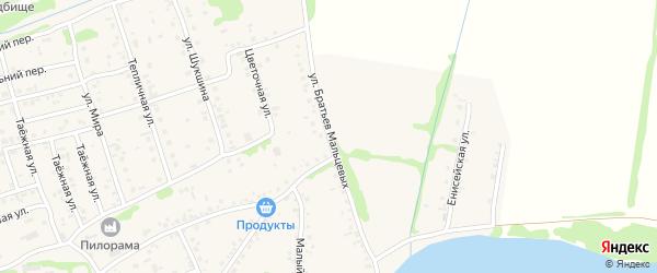 Улица Братьев Мальцевых на карте села Малоугренево с номерами домов