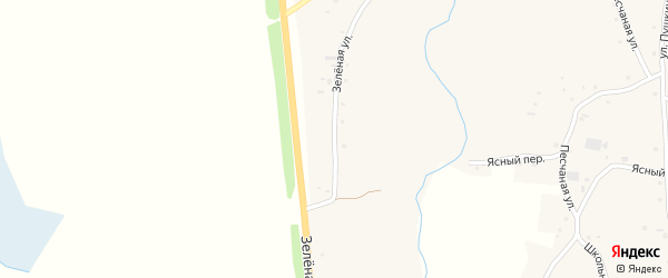 Зеленая улица на карте села Нижнекаменки с номерами домов