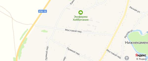 Мостовой переулок на карте села Нижнекаменки с номерами домов