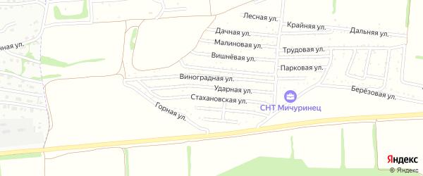 Ударная улица на карте садового некоммерческого товарищества Мичуринца с номерами домов