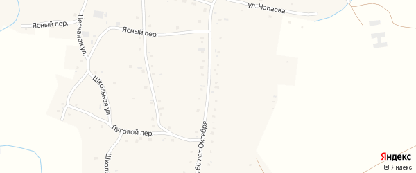 Улица 60 лет Октября на карте села Нижнекаменки с номерами домов