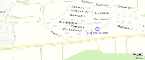 Стахановская улица на карте садового некоммерческого товарищества Мичуринца с номерами домов