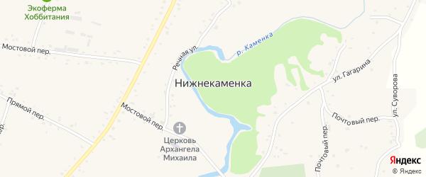 Водный переулок на карте села Нижнекаменки с номерами домов