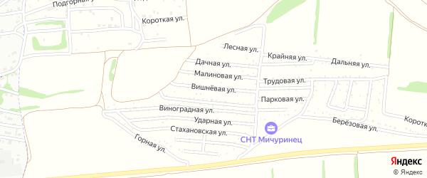 Вишневая улица на карте садового некоммерческого товарищества Мичуринца с номерами домов