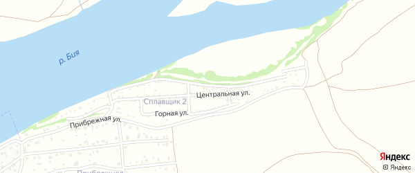 Береговая улица на карте садового некоммерческого товарищества Сплавщика-2 с номерами домов