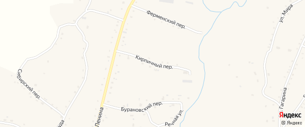 Кирпичный переулок на карте села Нижнекаменки с номерами домов