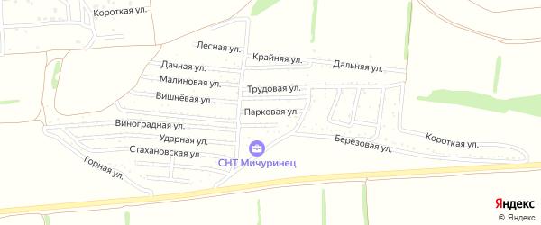 Парковая улица на карте садового некоммерческого товарищества Мичуринца с номерами домов