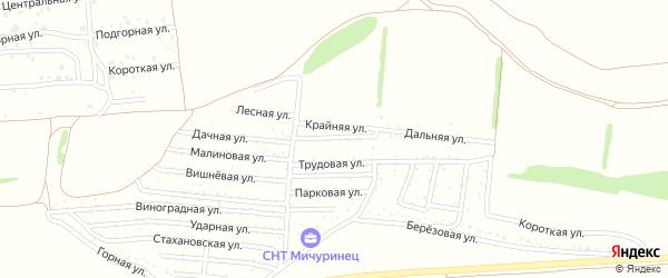 Смородиновая улица на карте садового некоммерческого товарищества Мичуринца с номерами домов
