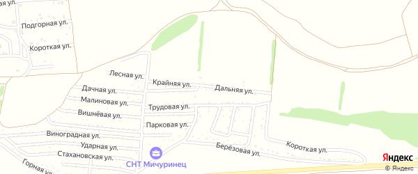 Крайняя улица на карте садового некоммерческого товарищества Мичуринца с номерами домов