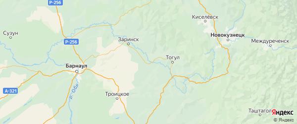 Карта Кытмановского района Алтайского края с городами и населенными пунктами
