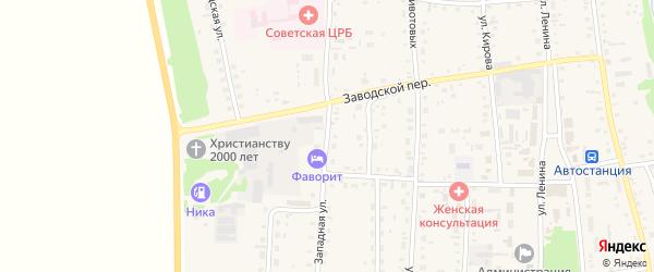 Западная улица на карте Советского села с номерами домов