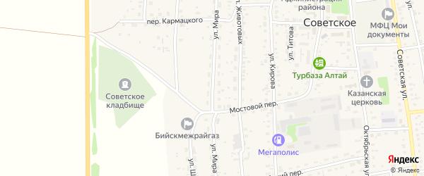 Улица Мира на карте Советского села с номерами домов