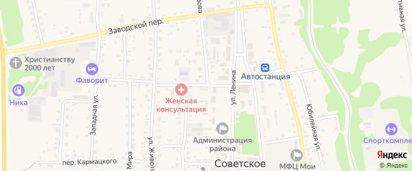 Центральный переулок на карте Советского села с номерами домов