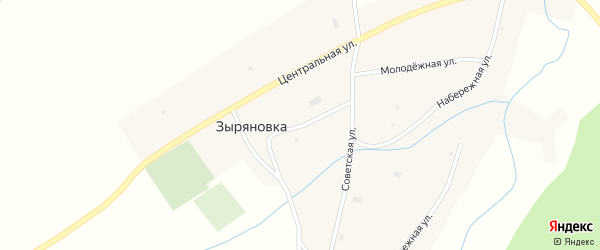 Школьный переулок на карте села Зыряновки с номерами домов