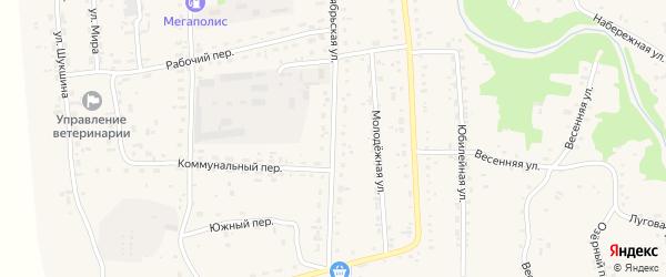 Октябрьская улица на карте Советского села с номерами домов