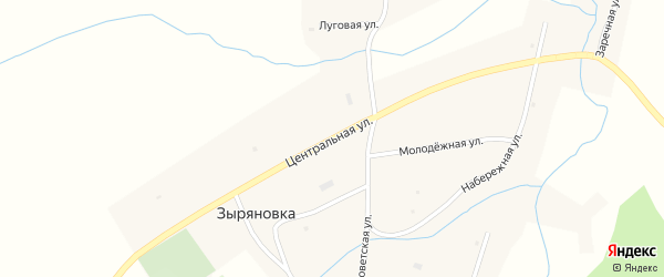 Центральная улица на карте села Зыряновки с номерами домов