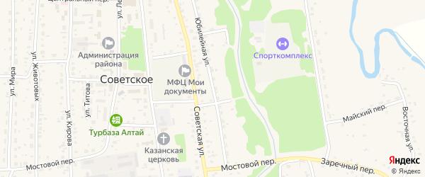 Юбилейная улица на карте Советского села с номерами домов