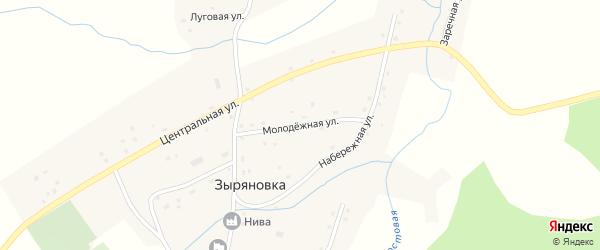 Молодежная улица на карте села Зыряновки с номерами домов