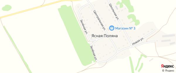 Зеленая улица на карте поселка Ясной Поляны с номерами домов