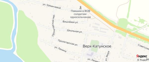 Школьная улица на карте Верха-Катунского села с номерами домов