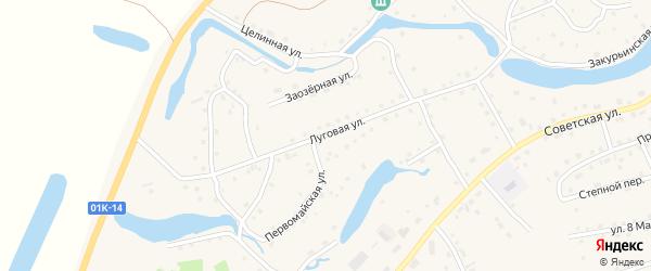 Луговая улица на карте села Кытманово с номерами домов