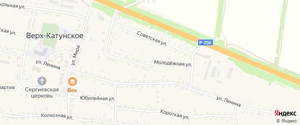 Молодежная улица на карте Верха-Катунского села с номерами домов