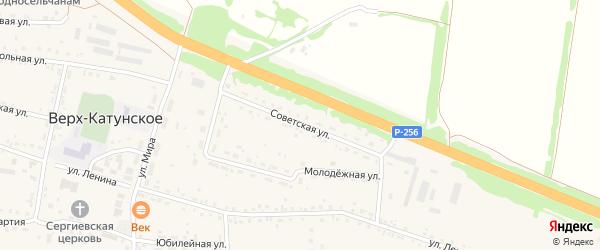 Советская улица на карте Верха-Катунского села с номерами домов