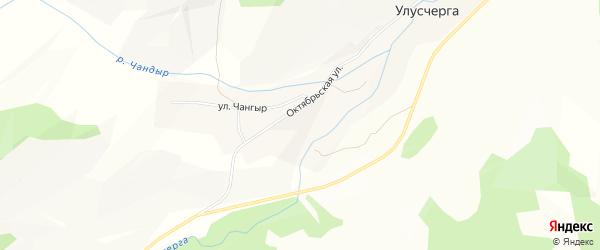 Карта села Улусчерги в Алтае с улицами и номерами домов